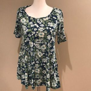 Lularoe perfect t small green floral nwt